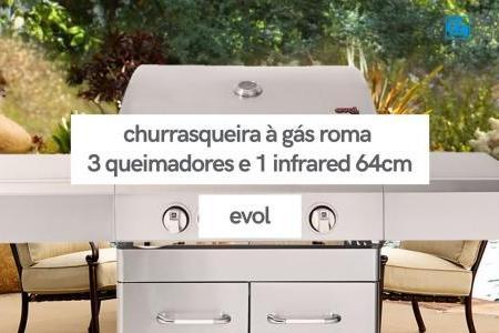 Churrasqueira à Gás Roma 3 Queimadores e 1 Infrared | Evol