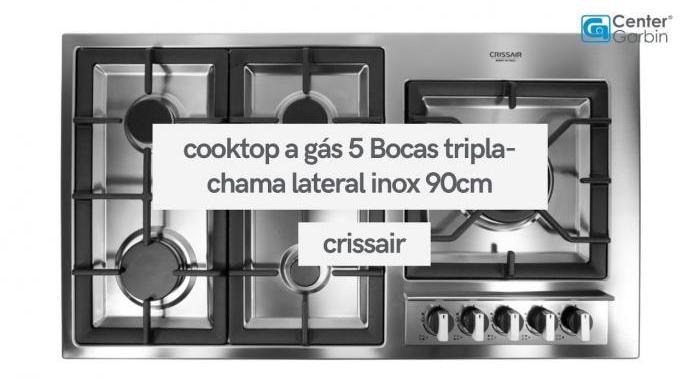 Cooktop a Gás 5 Bocas Tripla-Chama Lateral Inox 90cm | Crissair