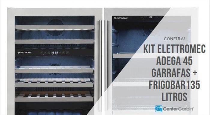 Kit Elettromec Adega de Vinhos 45 Garrafas + Frigobar 135 Litros