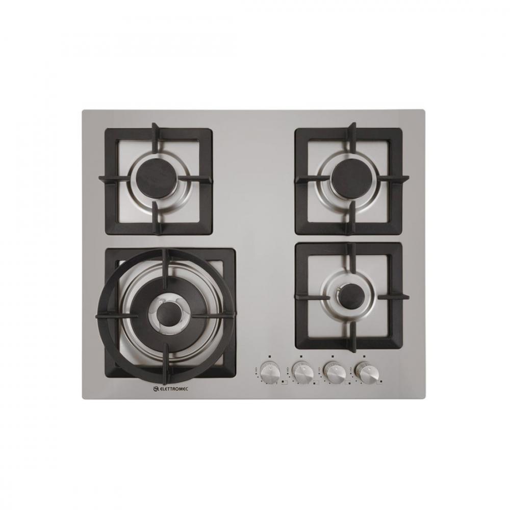 Cooktop a Gás Elettromec Quadratto 4 Bocas Tripla Chama Inox Gusa 60cm Bivolt CKG-4Q-60-XQ-3ZEA