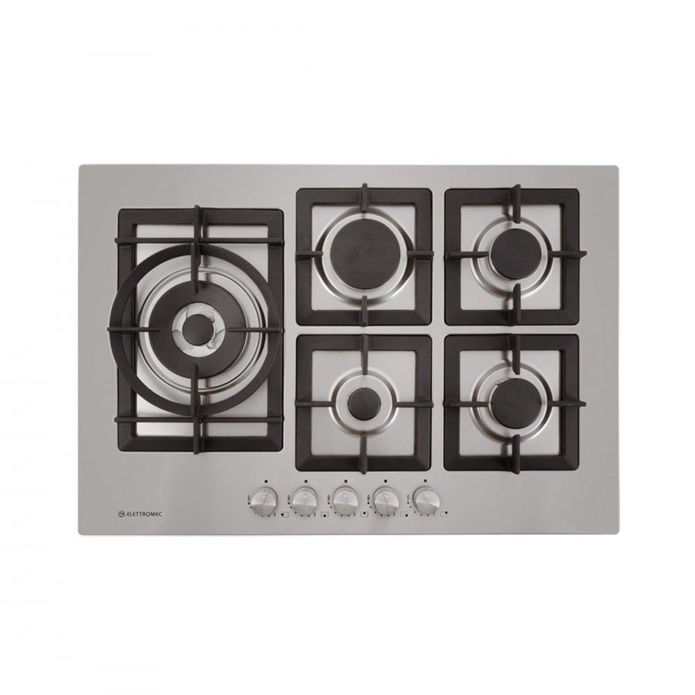 Cooktop Elettromec a Gás Quadratto CKG-5Q-75-XQ-3ZEA 5 Bocas Tripla Chama Lateral Inox Gusa 75cm
