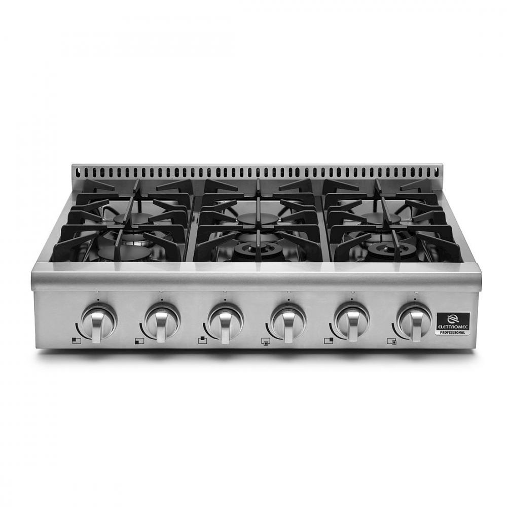 Rangetop à Gás Elettromec Professional 6 Bocas Inox 90cm 110V - RT-6Q-90-XP-1HXA