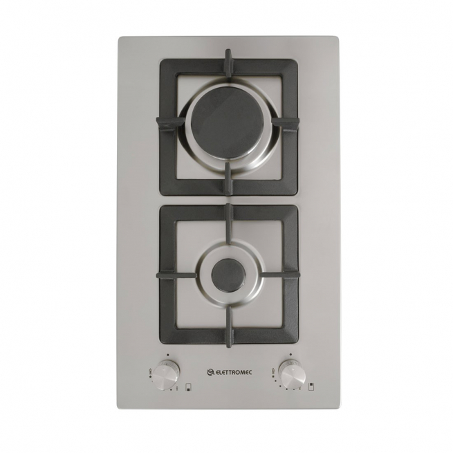 Cooktop Elettromec Dominó Quadratto 2 Queimadores Inox 30cm Bivolt - DG-2Q-30-XQ-3ZEA