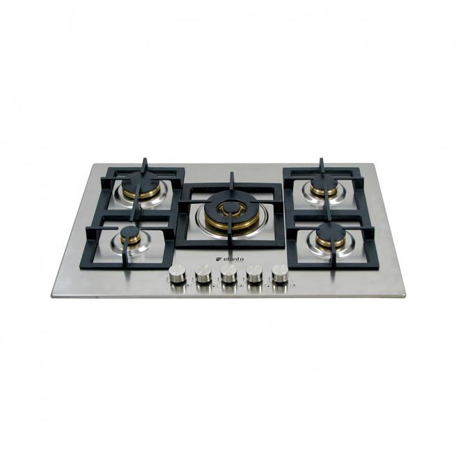 Cooktop Professionale Elanto Semiprofissional a Gás 5 Bocas Inox 75cm 220V - LNTP75GDC4BX