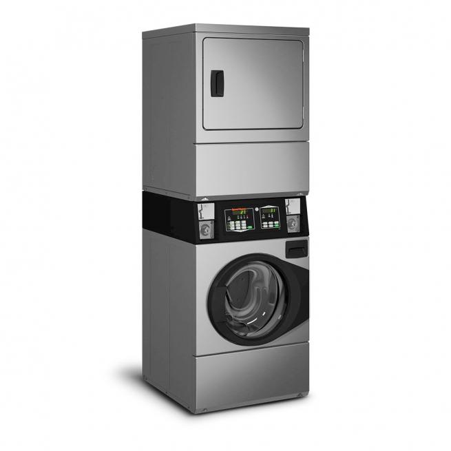 Lavadora e Secadora à Gás Comercial Speed Queen Quantum 9,5 Kg Inox com Cofre e Ficheiro 220V - STGNXASP543DN01